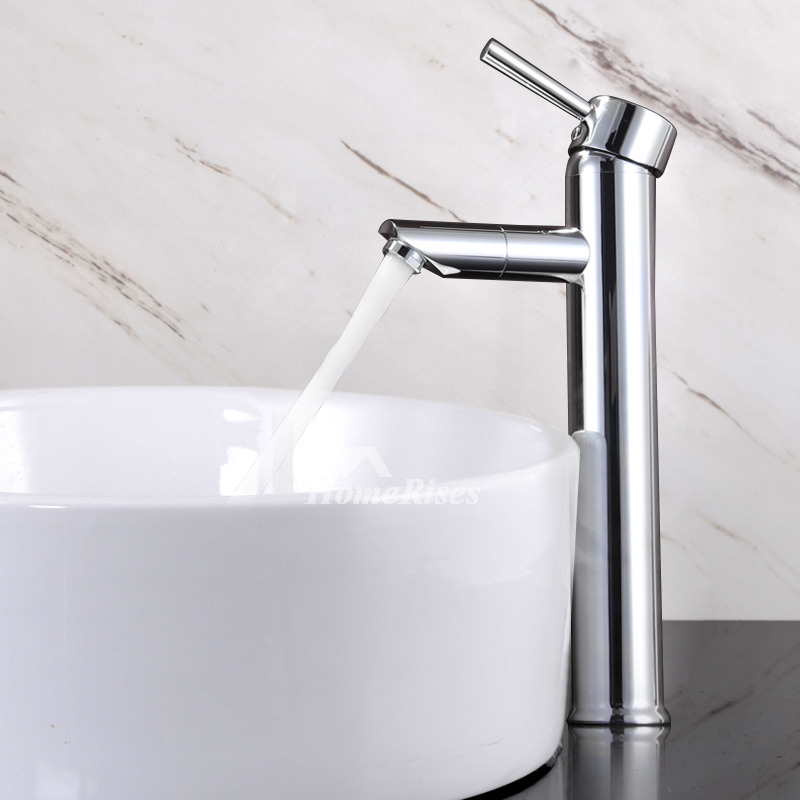Polished Chrome Single Handle Brass Bathroom Vessel Sink Faucet