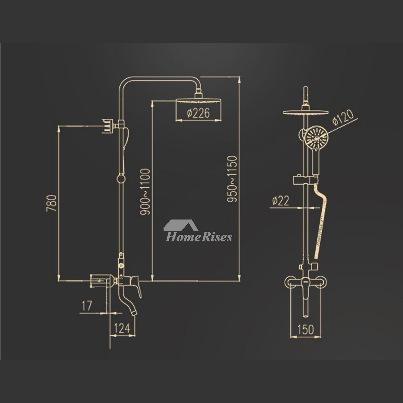Chrome Shower Faucet Wall Mount Brass Single Handle Rain Shower