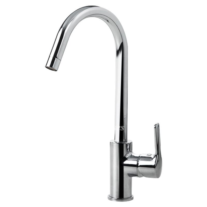 Chrome Kitchen Faucet Rotatable Single Handle Vessel Silver Chrome