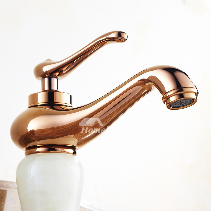 Brown Bathroom Faucets Rose Gold Centerset Single Handle Marble