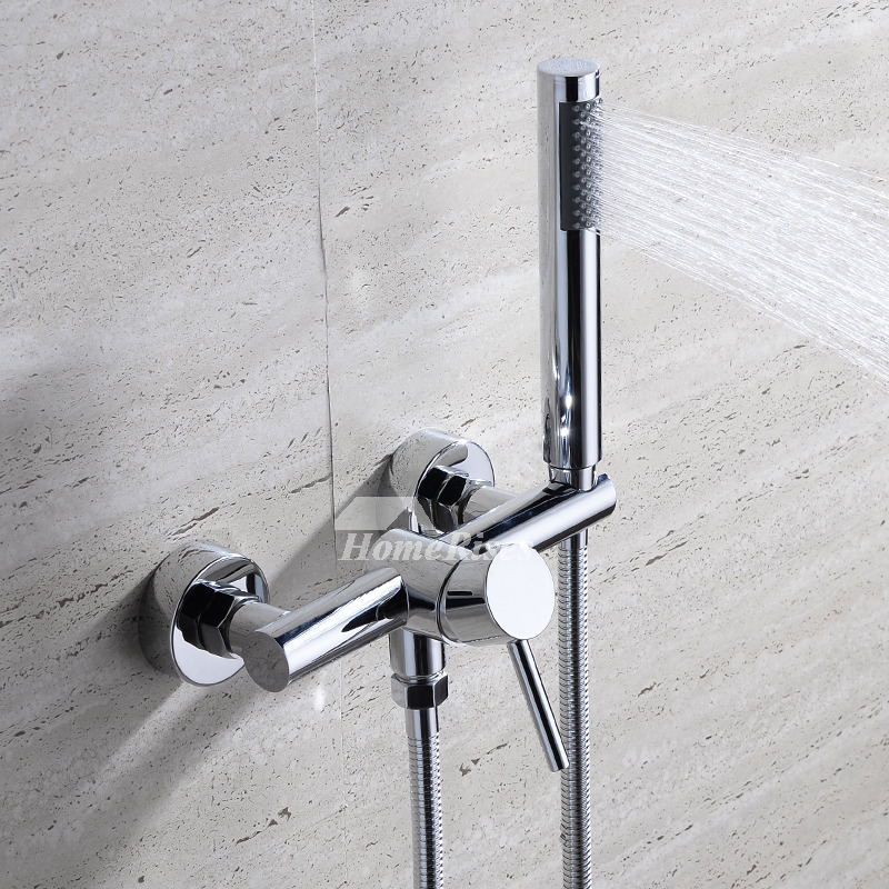 Wall Mount Tub Faucet Single Handle 2 Hole Hand Shower Brass Chrome