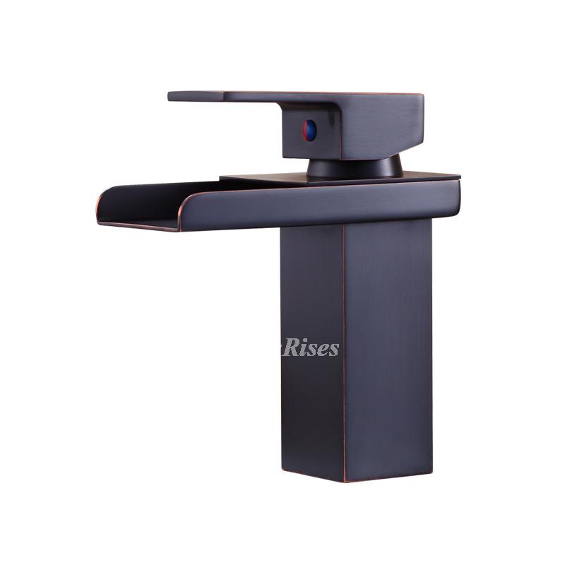Rubbed Bronze Bathroom Faucet Black Single Handle Vessel Waterfall