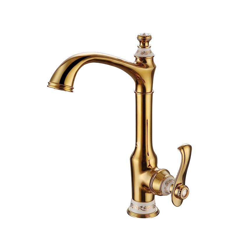 Luxury Bathroom Faucets Polished Brass Single Handle Rotatable One Hole