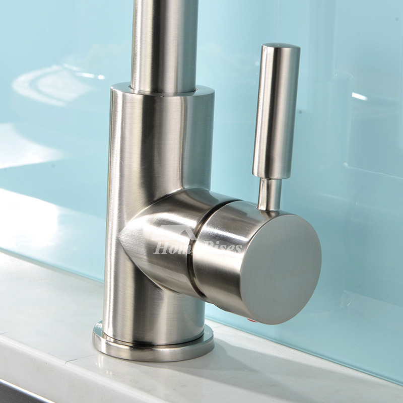Brushed Brass Kitchen Faucet Brass Pull Out Spray Centerset Gooseneck