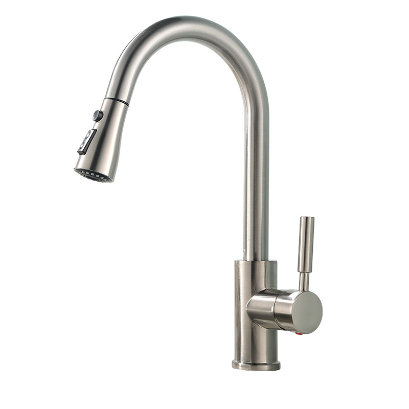 Brushed Brass Kitchen Faucet Silver Pull Out Spray Rotatable Centerset
