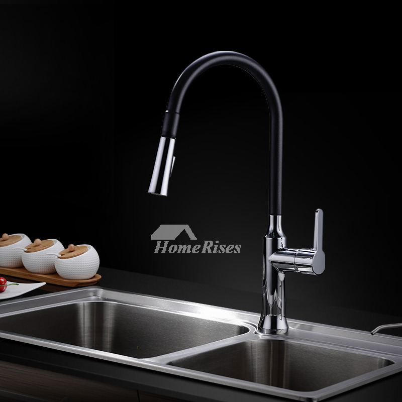 Pull Out Kitchen Faucet Black One Hole Centerset Modern Cool Brass