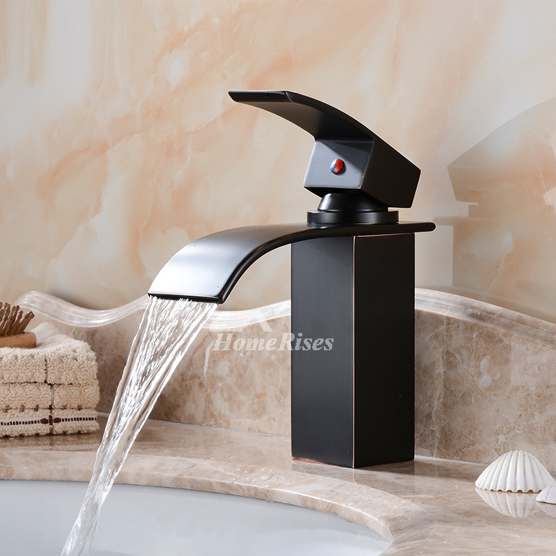 Waterfall Bathroom Faucet Black Oil Rubbed Bronze Centerset Single Handle