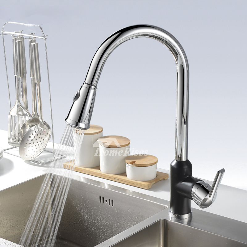 Gooseneck Kitchen Faucet Pull Out Spray Silver One Hole Centerset