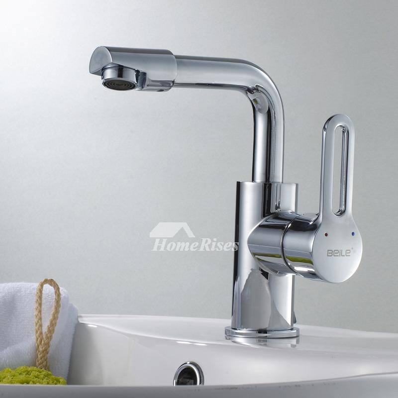 Chrome Bathroom Faucet Single Hole Modern Silver Brass Rotatable
