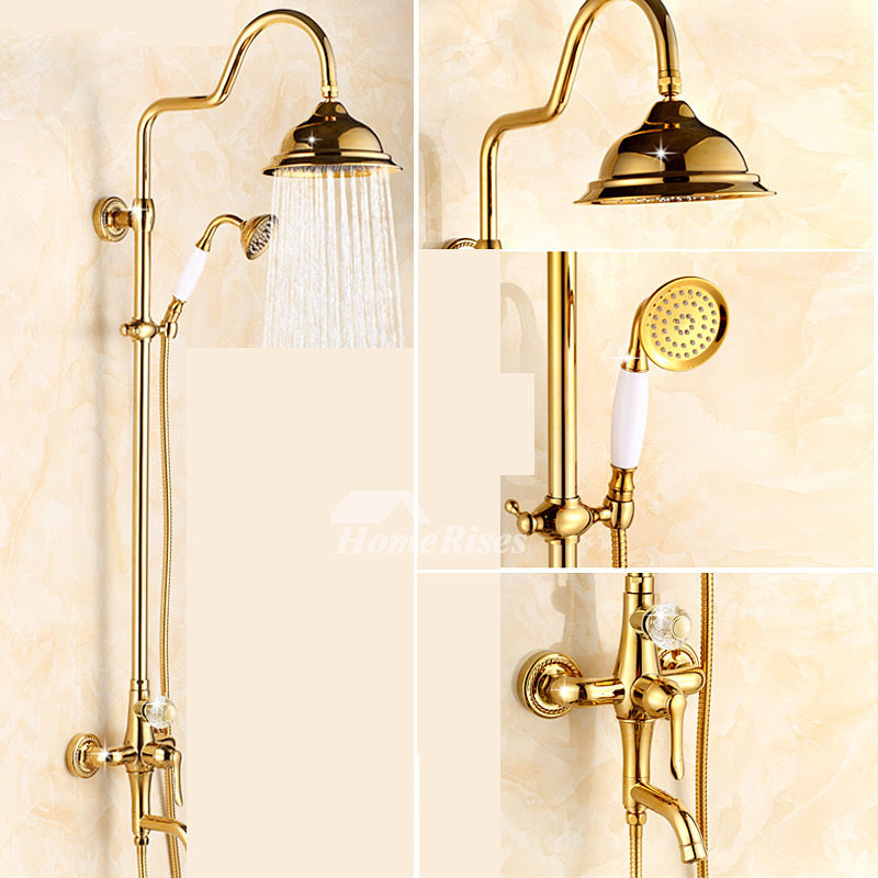 8 Shower Faucet System Gold One Handle Polished Brass Wall Mount