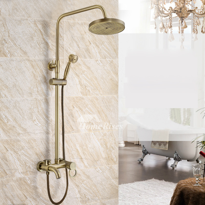 Gold Shower Faucet Antique Brass Wall Mount Luxury 3 Hole