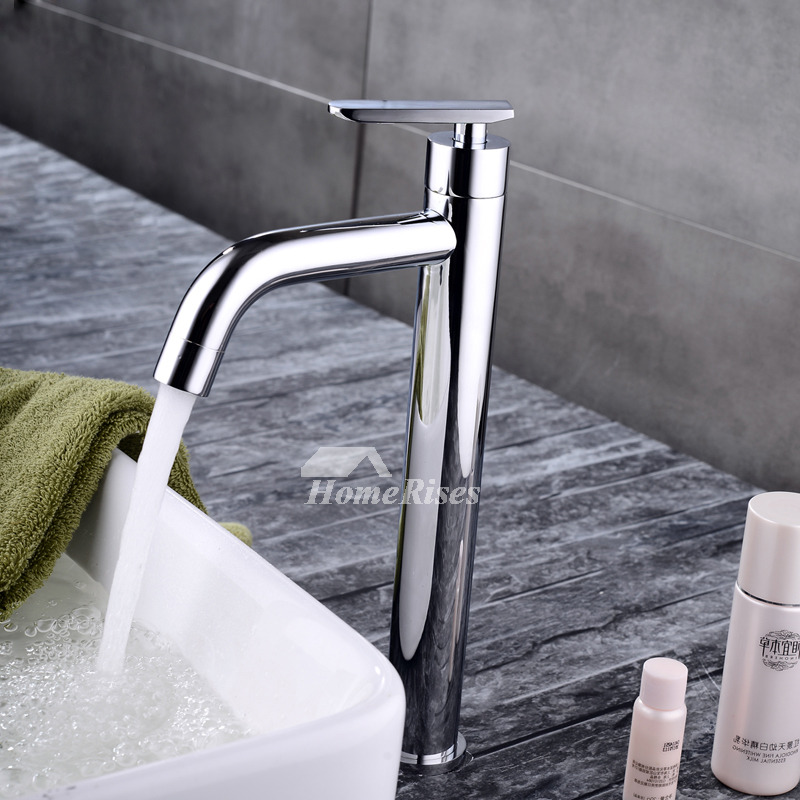 Single Handle Bathroom Faucet Vessel Chrome Single Hole Silver