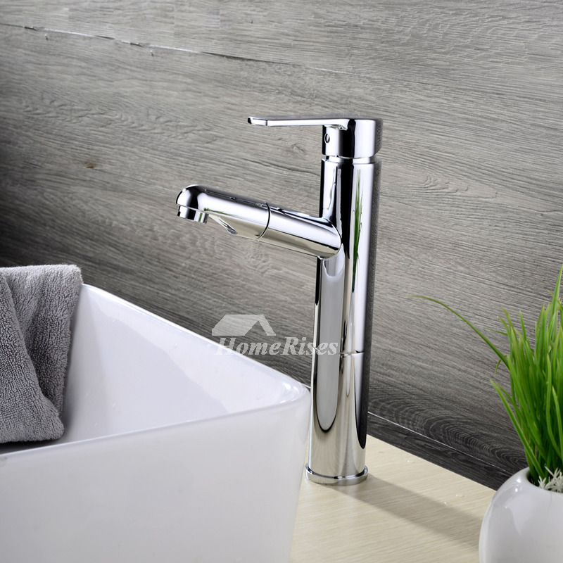 Pull out bathroom faucet silver brass chrome vessel single - Brass and chrome bathroom faucets ...