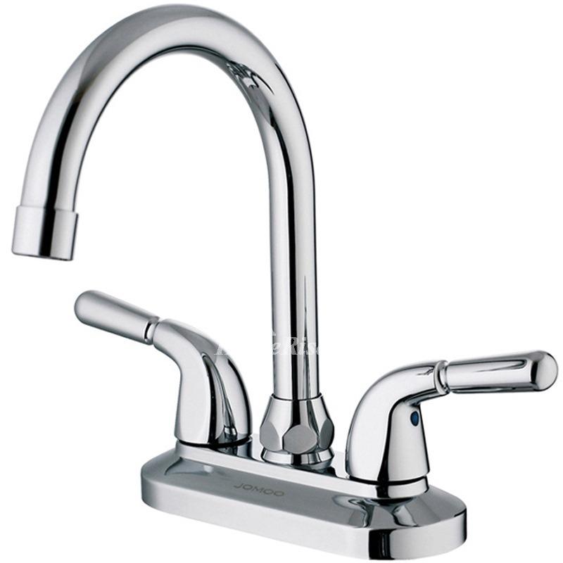 Chrome Two Handle Bathroom Sink Faucet Centerset Brass