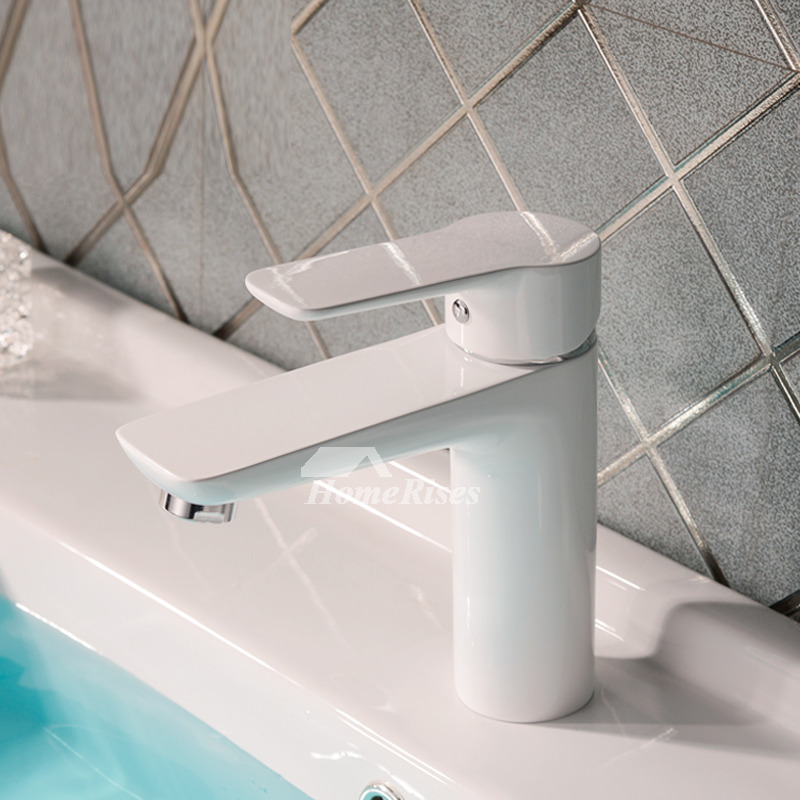 Designer Painting White High End Bathroom Faucets Vessel 1 Hole