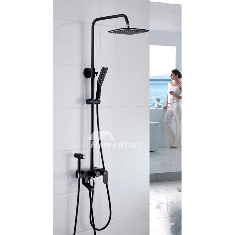 Black Shower Faucet Wall Mount Painting 10 Inch Sidespray