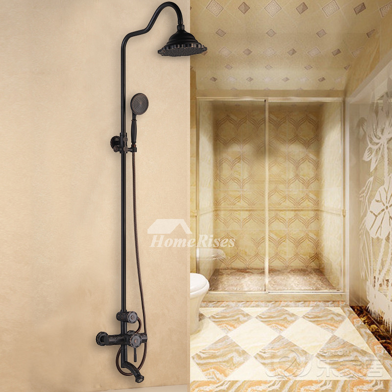 2 Handle Gold Black Antique Brass Shower Faucet Systems