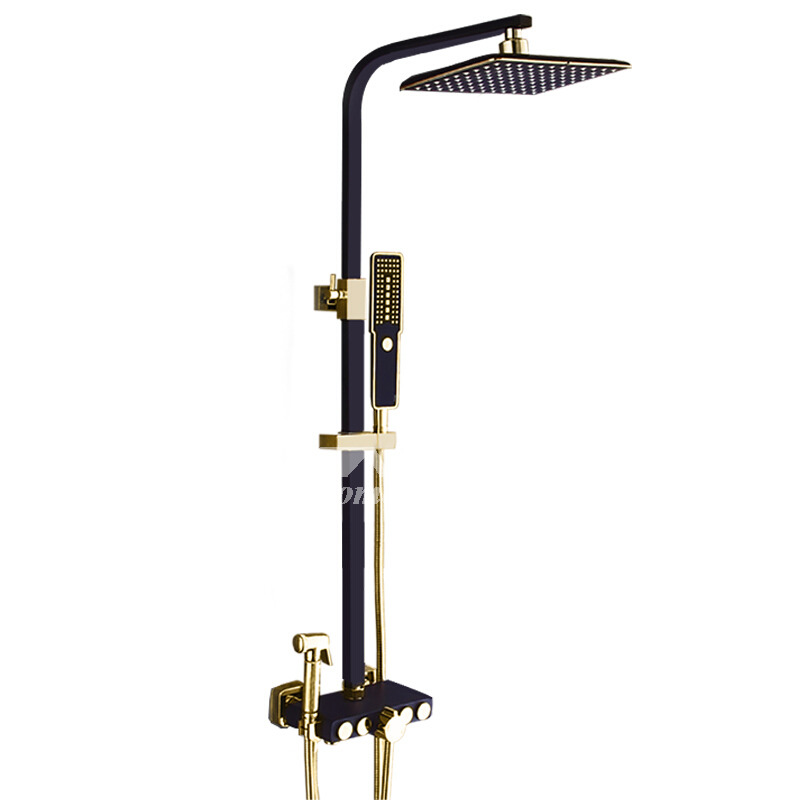 black shower head and faucet.  Black Shower Faucet Square Sidespray Wall Mount One Handle