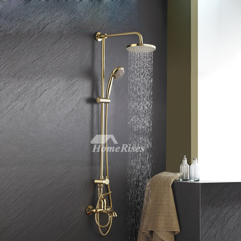 High End Bathroom Faucets Gold Wall Mount 8 Inch Polished Brass