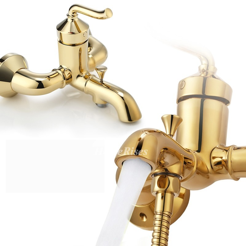 End Bathroom Faucets Gold Wall Mount 8 Inch Polished Brass