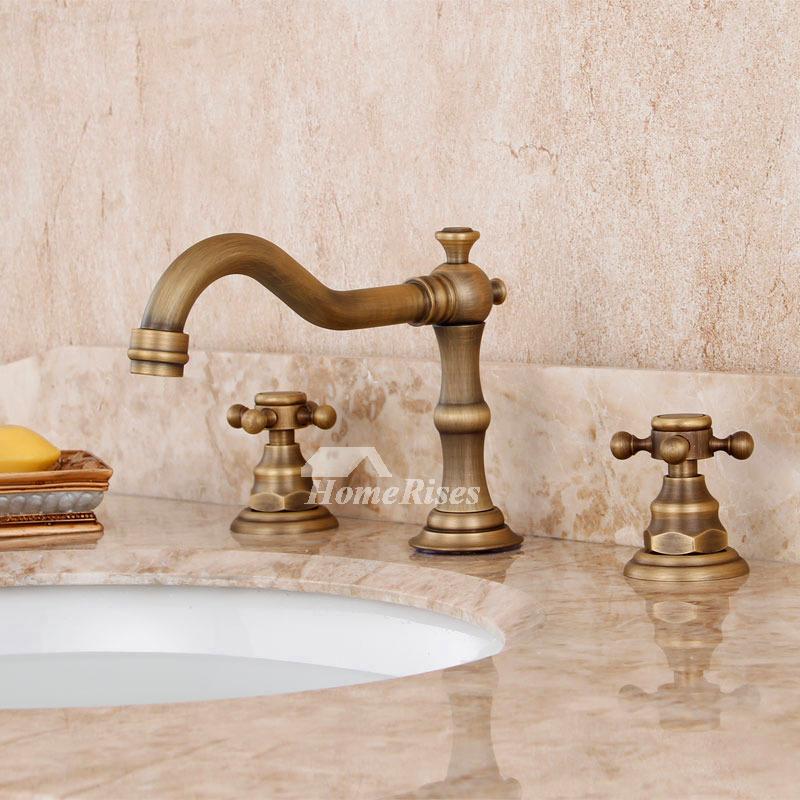 Antique Bronze Widespread Bathroom Faucet 3 Hole Bathtub