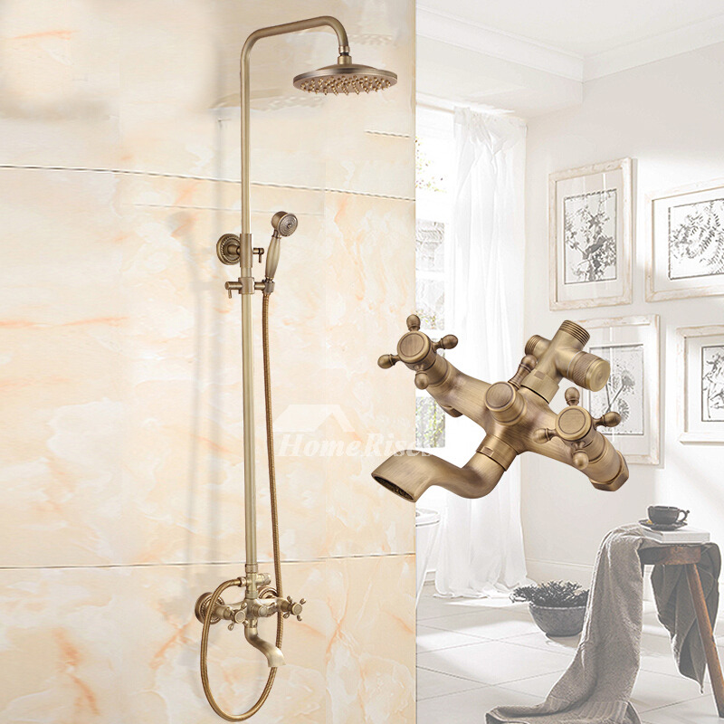 Discount Shower Fixtures Antique Brass Brushed Wall Mount Gold