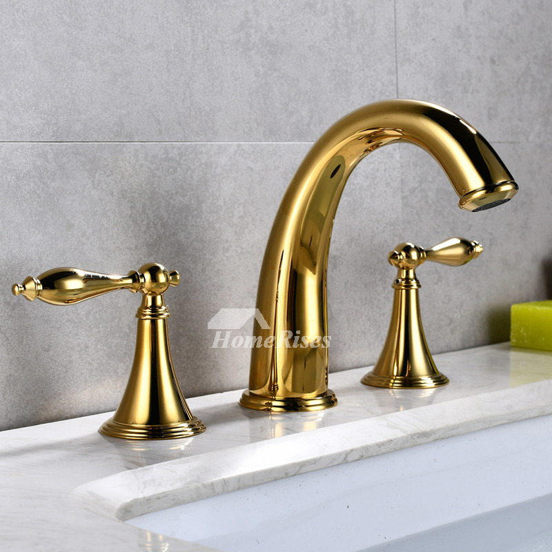 Gold Bathroom Faucet Widespread Two Handles Polished Brass Bathtub