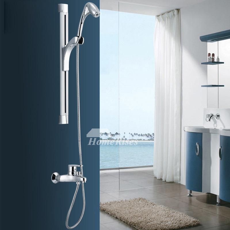 Modern Shower Faucets System Brass Chrome Silver Wall Mount