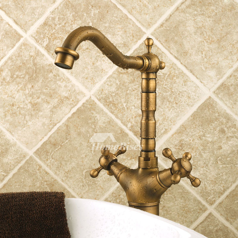 Cross handle bathroom faucet antiqur brass gold single hole - Single hole cross handle bathroom faucet ...