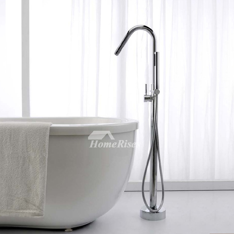 Bathtub Faucet Brass Chrome Gooseneck Shaped
