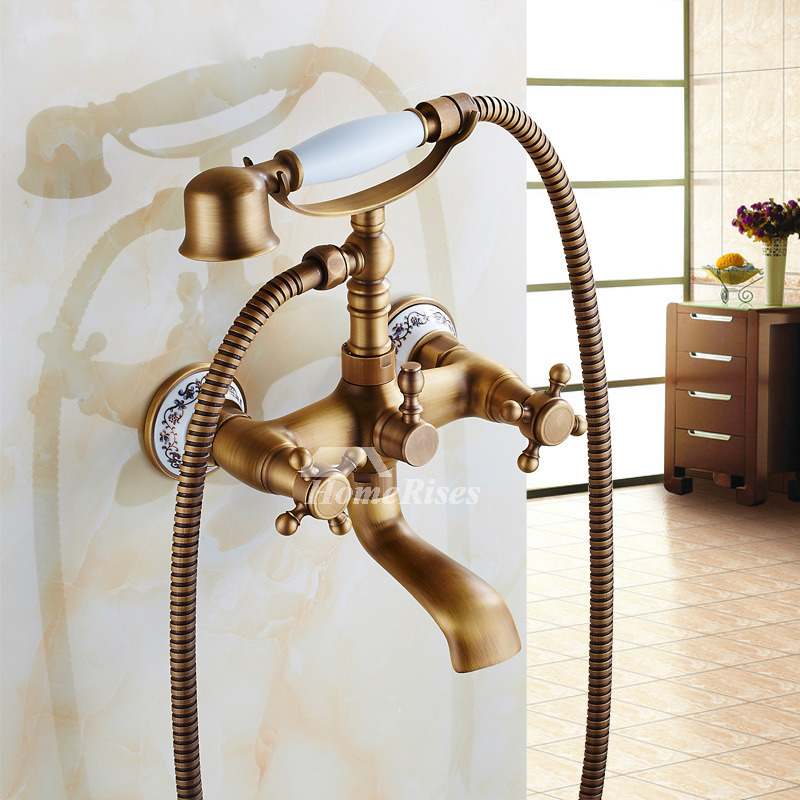 faucet with handheld shower tap gold claw tub bathtub finish mixer foot clawfoot hand faucets