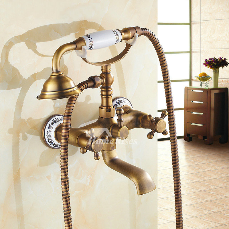 Clawfoot Tub Faucet 2 Hole Wall Mount Antique Brass Two