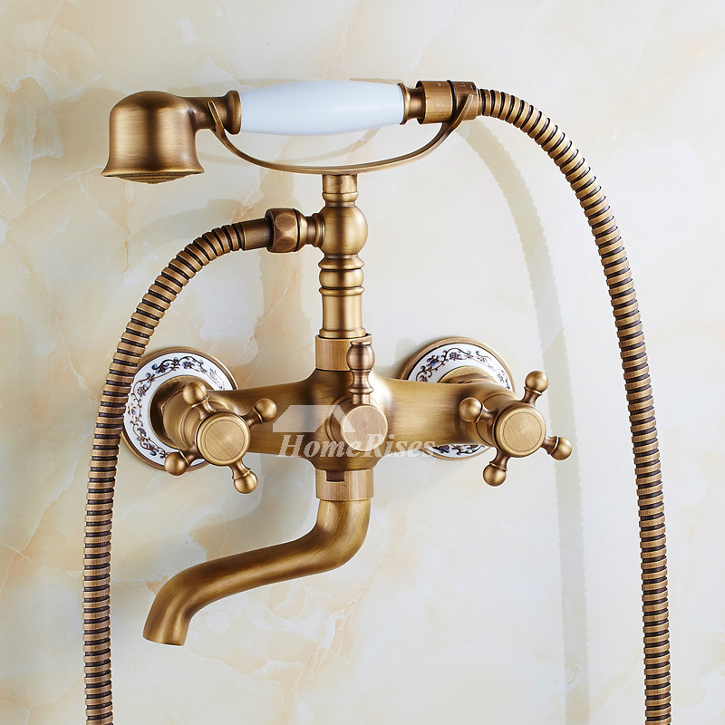 Clawfoot Tub Faucet 2 Hole Wall Mount Antique Brass Two Handles