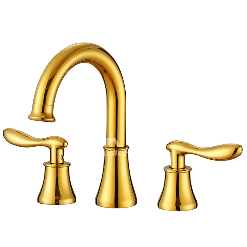 Gold Bathroom Faucet Widespread Two Handles Polished Brass