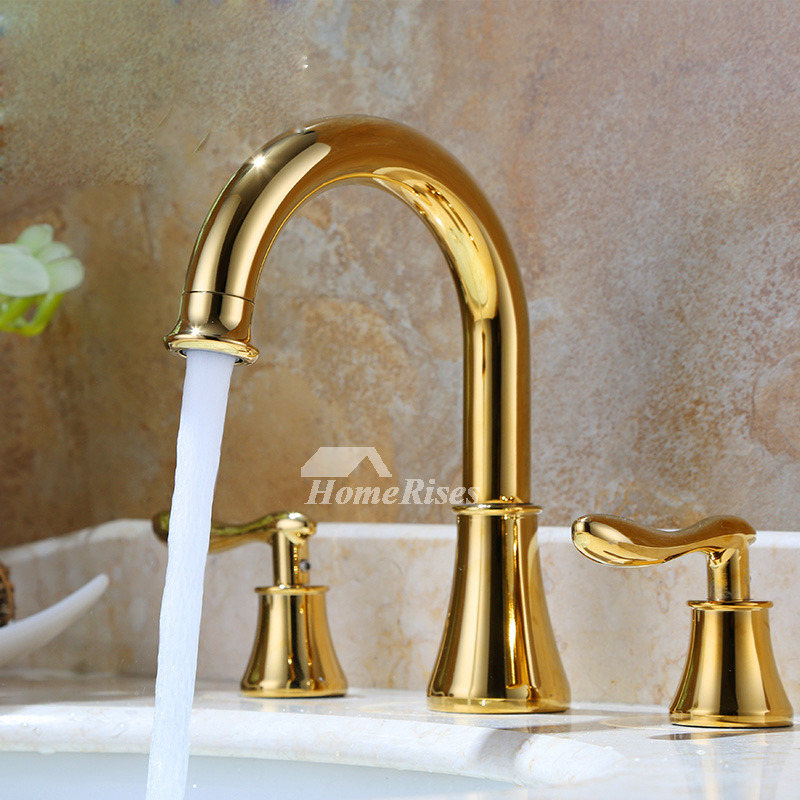 Gold Bathroom Faucet Widespread Two Handles Polished Brass Luxury