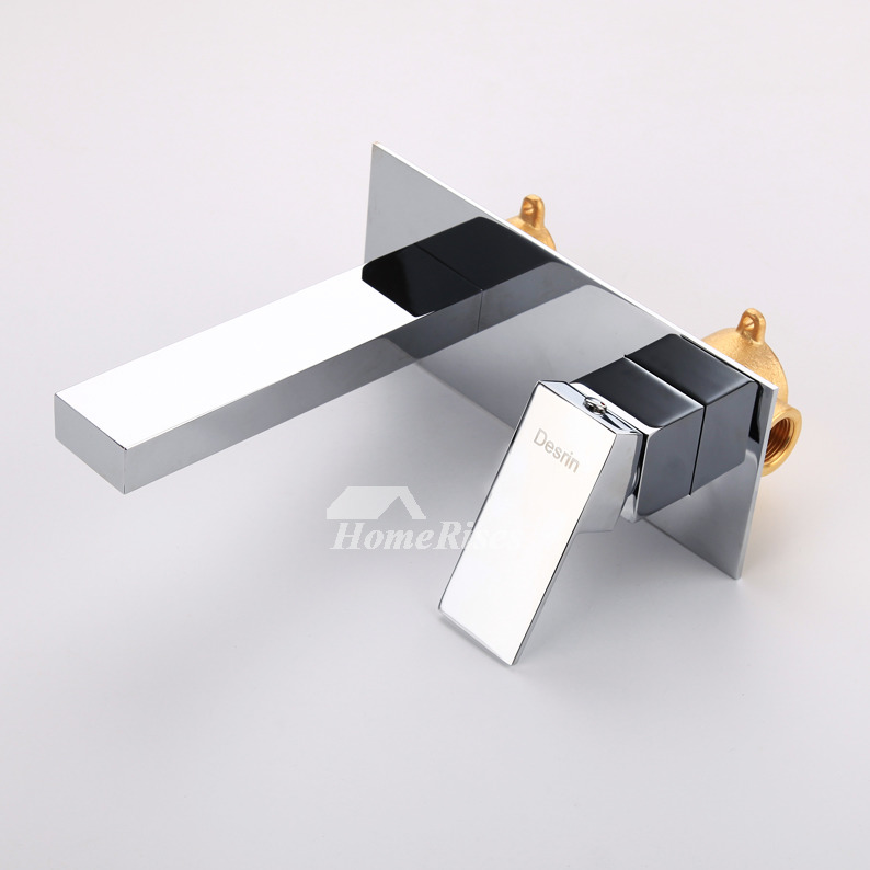 Wall Mount Bathroom Faucet Chrome Oil-Rubbed Bronze Silver/Black