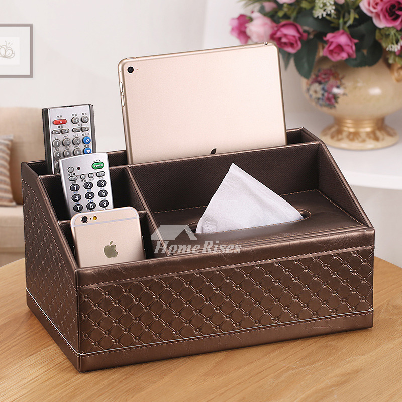 White Tissue Box Cover Leather Carved Brown Rectangular