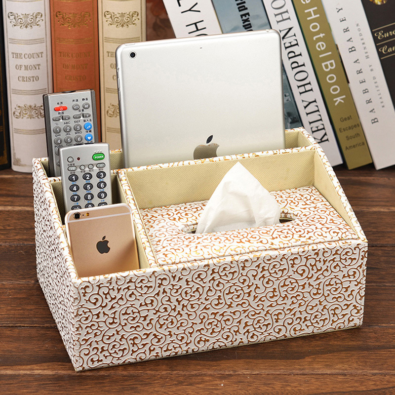 Decorative Tissue Box Cover Leather Modern Black Brown