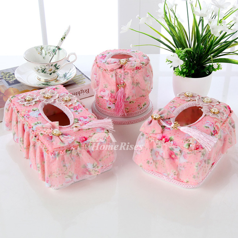 Fabric Tissue Box Cover Set Romantic Plastic Living Room Decorative