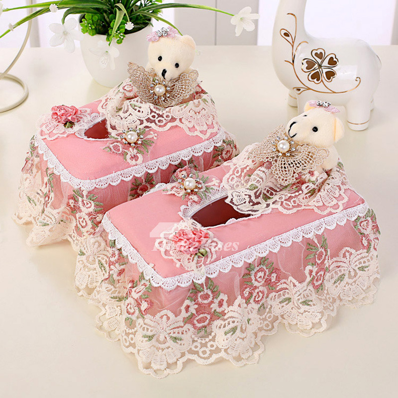 Fabric Tissue Box Cover Set Romantic Plastic Living Room
