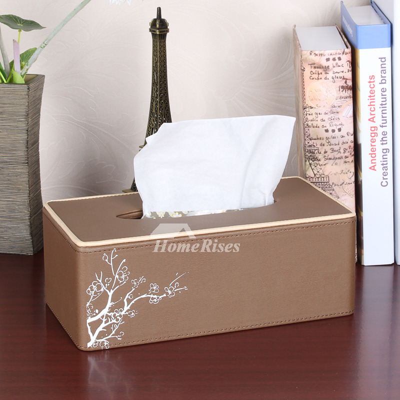 Rustic Rectangular Tissue Box Cover Leather Brown White