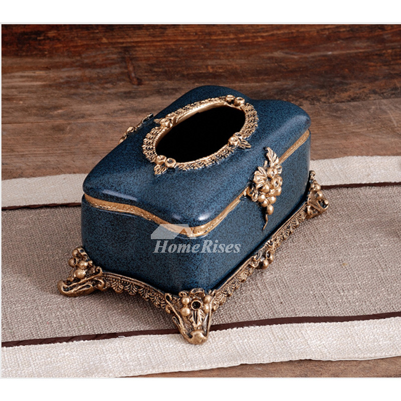 Rustic Resin Blue Grey Vintage Tissue Box Cover Decorative