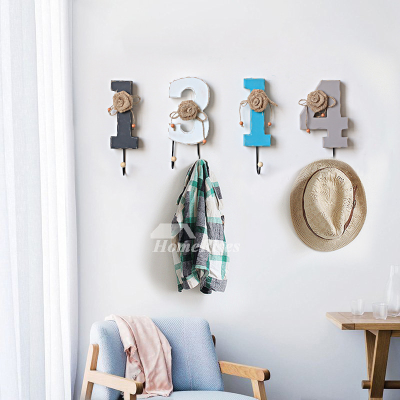 Unique Wall Hooks Letter Rustic Key Coat Decorative Hat