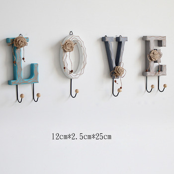 Unique Wall Hooks Letter Rustic Key Coat Decorative Hat Bedroom Best
