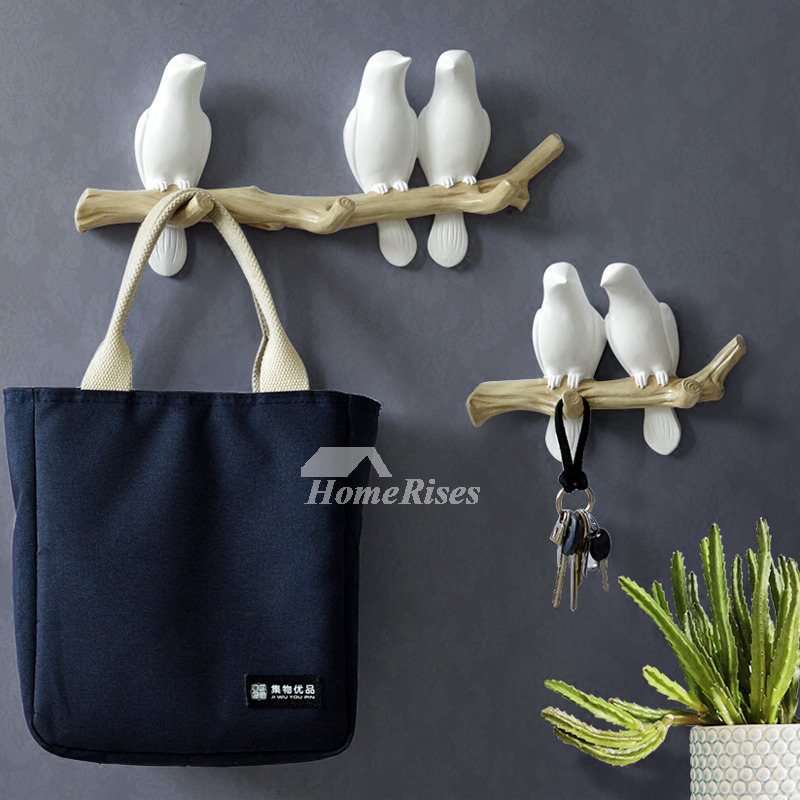 Unique Wall Hooks Bird Resin White/Blue Decorative Key