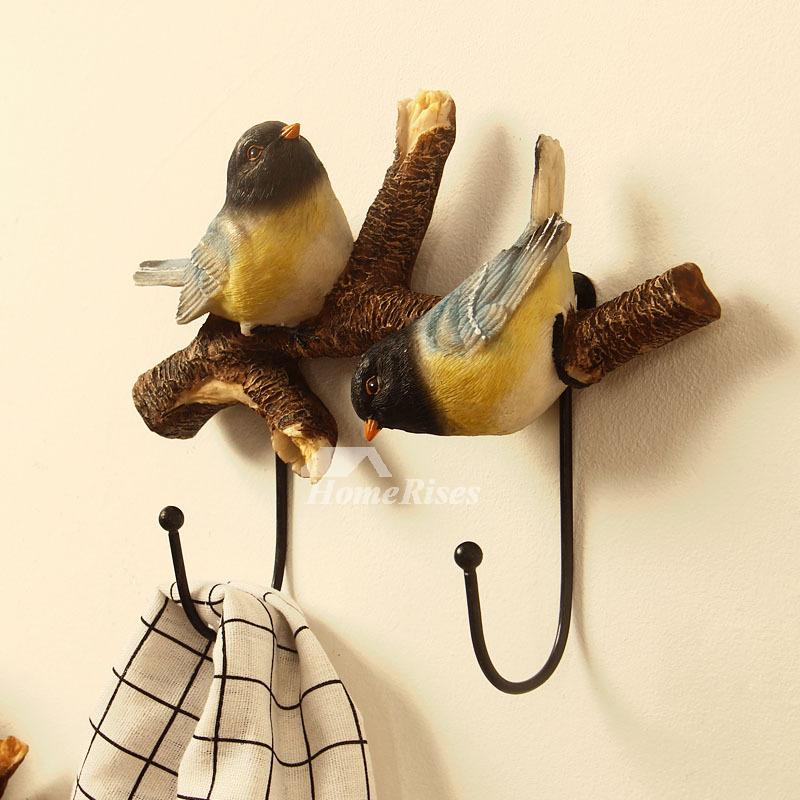 Metal Wall Hooks Resin Bird Coat Key Rustic Decorative
