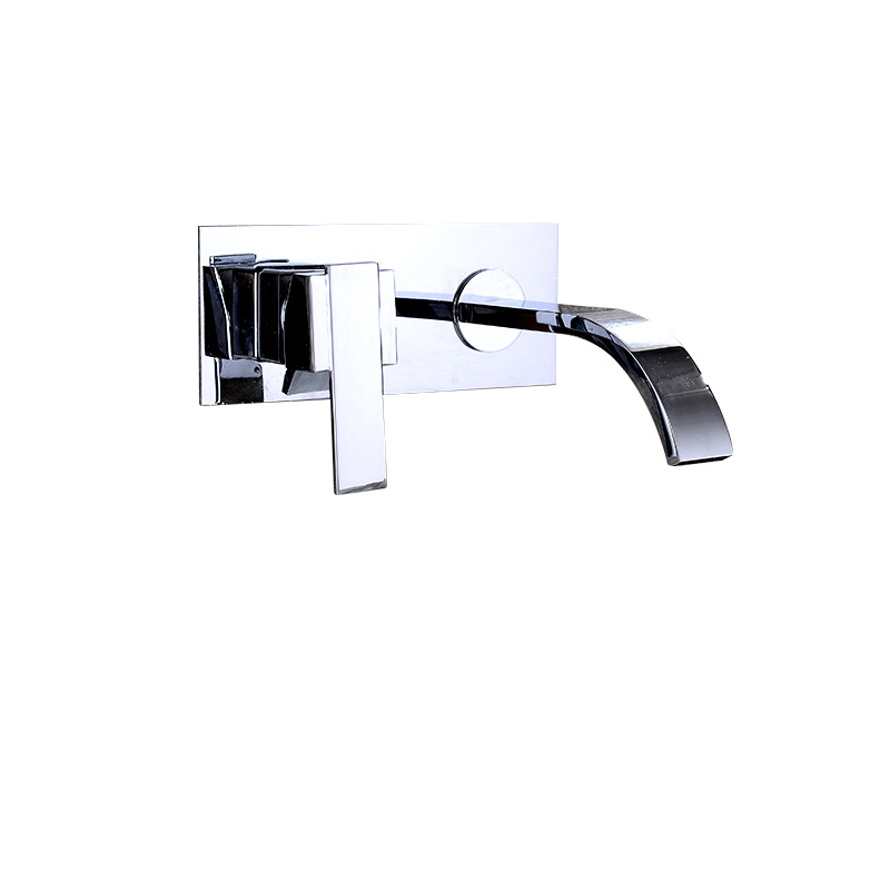 Waterfall Bathroom Sink Faucet Wall Mount Brass Chrome Silver