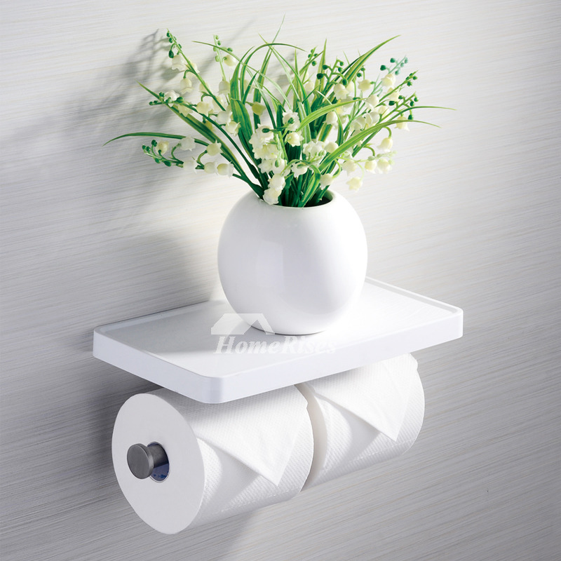 Modern White Toilet Paper Holder With Shelf / Bathroom Towel Hook