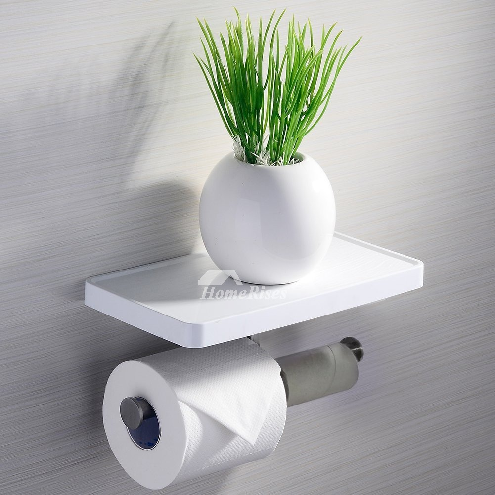 Modern White Toilet Paper Holder With Shelf Bathroom