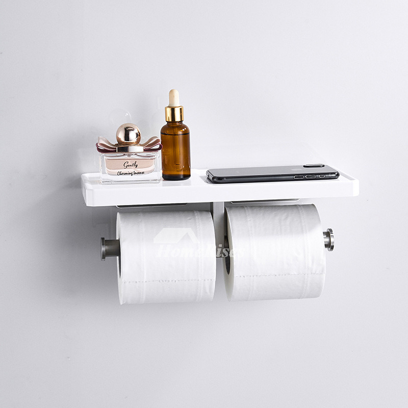 Modern White Toilet Paper Holder With Shelf Bathroom Towel Hook